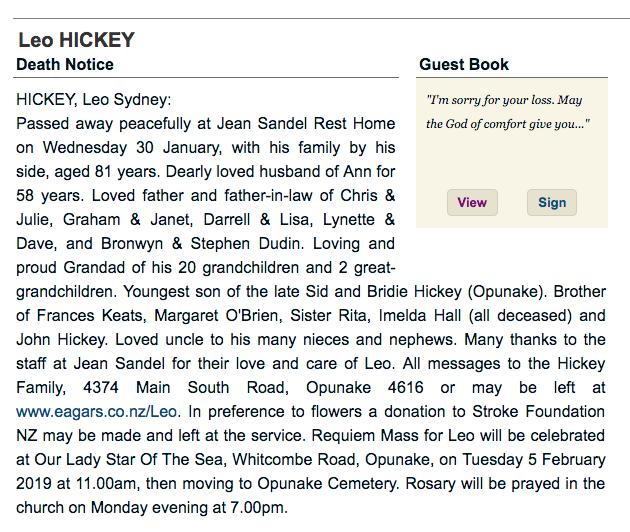 St Patrick's College, Silverstream Foundation - Obituaries